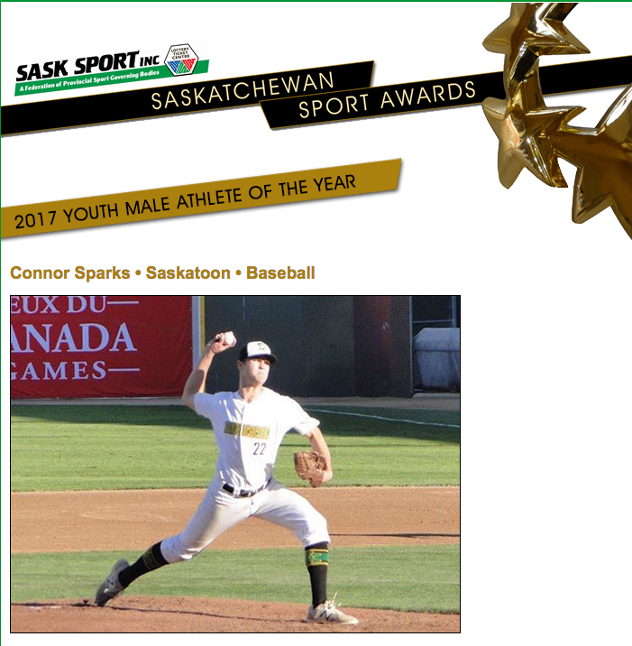 Sparks Named 2017 Sask Sport Youth Male Athlete of the Year